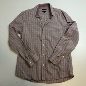 RW & Co Men's Purple Striped Fitted Dress Shirt